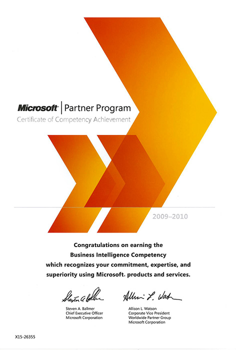 <b>Сертификат Microsoft Partner Program</b> - Business Intelligence Competency